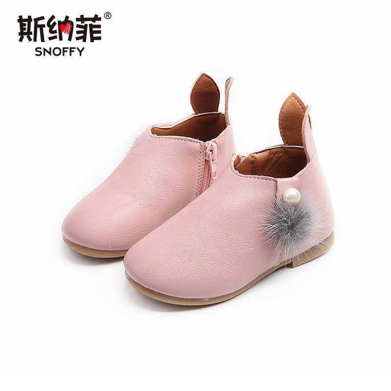 2018 ilkbahar ve sonbahar yeni kız tavşan kulaklar çocuk anti-skid ayakkabı yan fermuar nefes çocuk botları