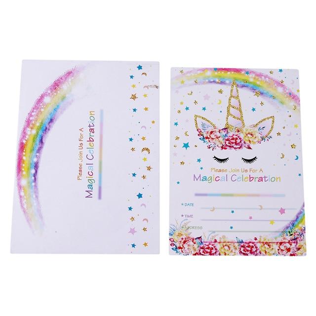 12 piezas unicornio tarjeta invitaciones fiesta unicornio linda