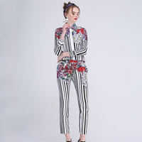 European Women Summer Spring Fashion Casual Twin Set Long Sleeve Blouse Long Trousers Striped Flower Printed