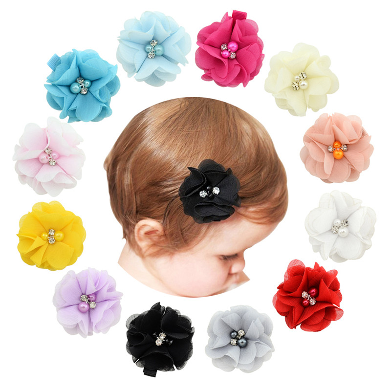 "12 Color Approx 2"" Lovely Kids Hairpins Chiffon Flowers With Rhinestone Pearl Ribbon Hair Clips Girl Women Hair Accessories"