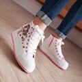 Квартиры платформы повседневная обувь женщин 2017 новая мода круглый носок высокая помощь плоским пятки холст женщина обувь Толстой подошве обувь весна