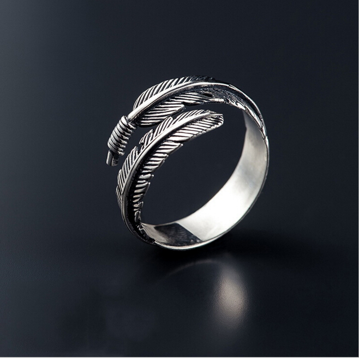 Free Shipping Vintage Feather Arrow Opening Rings for Women Thai Silver 925 Sterling Silver Fine Jewelry