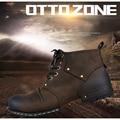 OTTO ZONA Top Quality Handmade Genuine Ankle Boots de Couro de Vaca moda Martin Botas Com Botas de Pele De Inverno Homens Sapatos de Couro DA UE 38-45