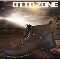 OTTO ZONE Top Quality Handmade Genuine Cow Leather Ankle Boots Fashion Martin Boots With Fur Men Winter Leather Shoes EU 38-45