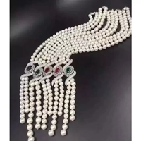 freshwater pearl 9-10mm red green blue pendant necklace 19inch wholesale bead discount gift hot