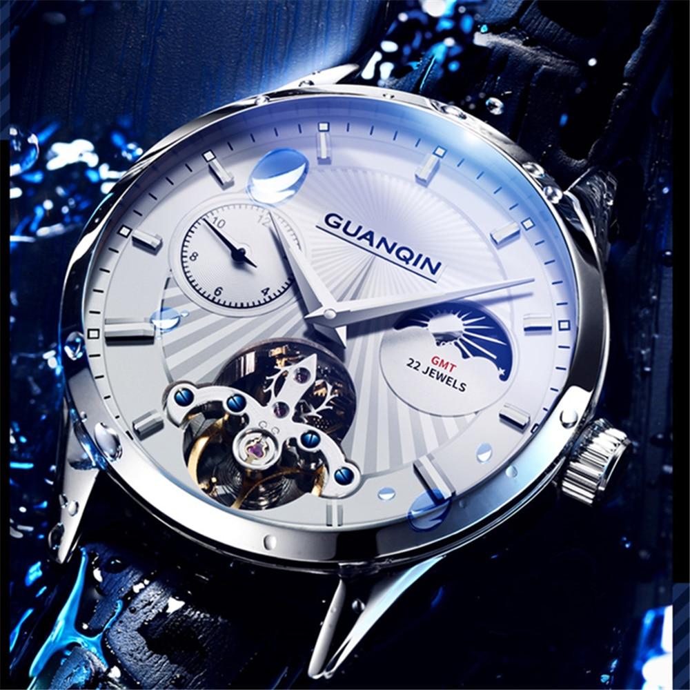 D'origine GUANQIN Hommes Automatique Mécanique Montre 5AMT Étanche multi-temps de zone De Luxe automatique volant mouvement hommes horloge