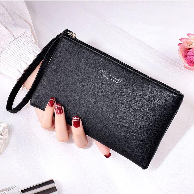 2019 New Women Wallets Long Wristlet Multi-functional Wallet Purse Women Leather Female Clutch Card Holder Red Zipper Money Bag