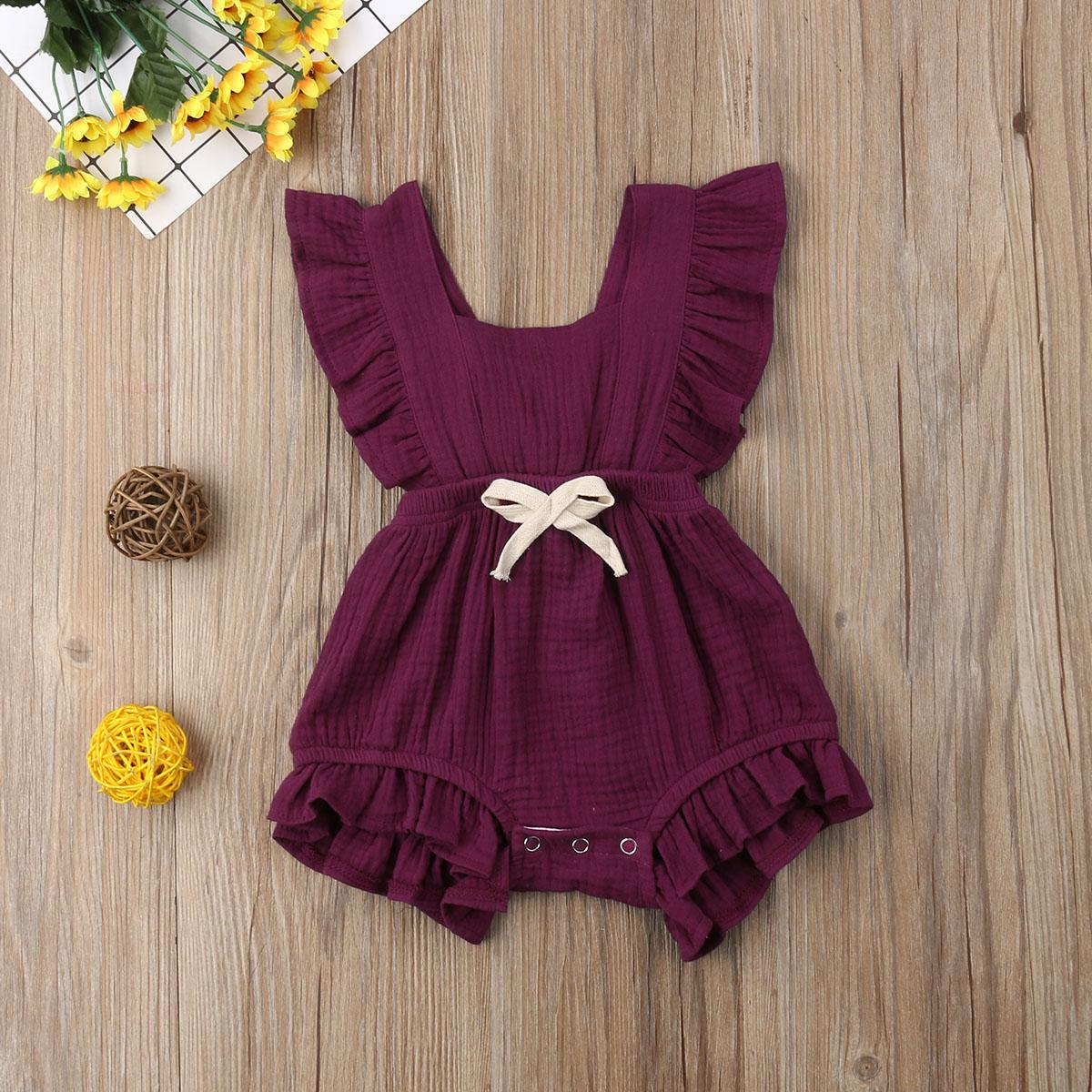 HTB11bjfao rK1Rjy0Fcq6zEvVXaj New Arrivels Baby Girls Ruffle One-Pieces Clothes Summer Newborn Kids Sleeveless Romper Jumpsuit Outfits Sunsuit