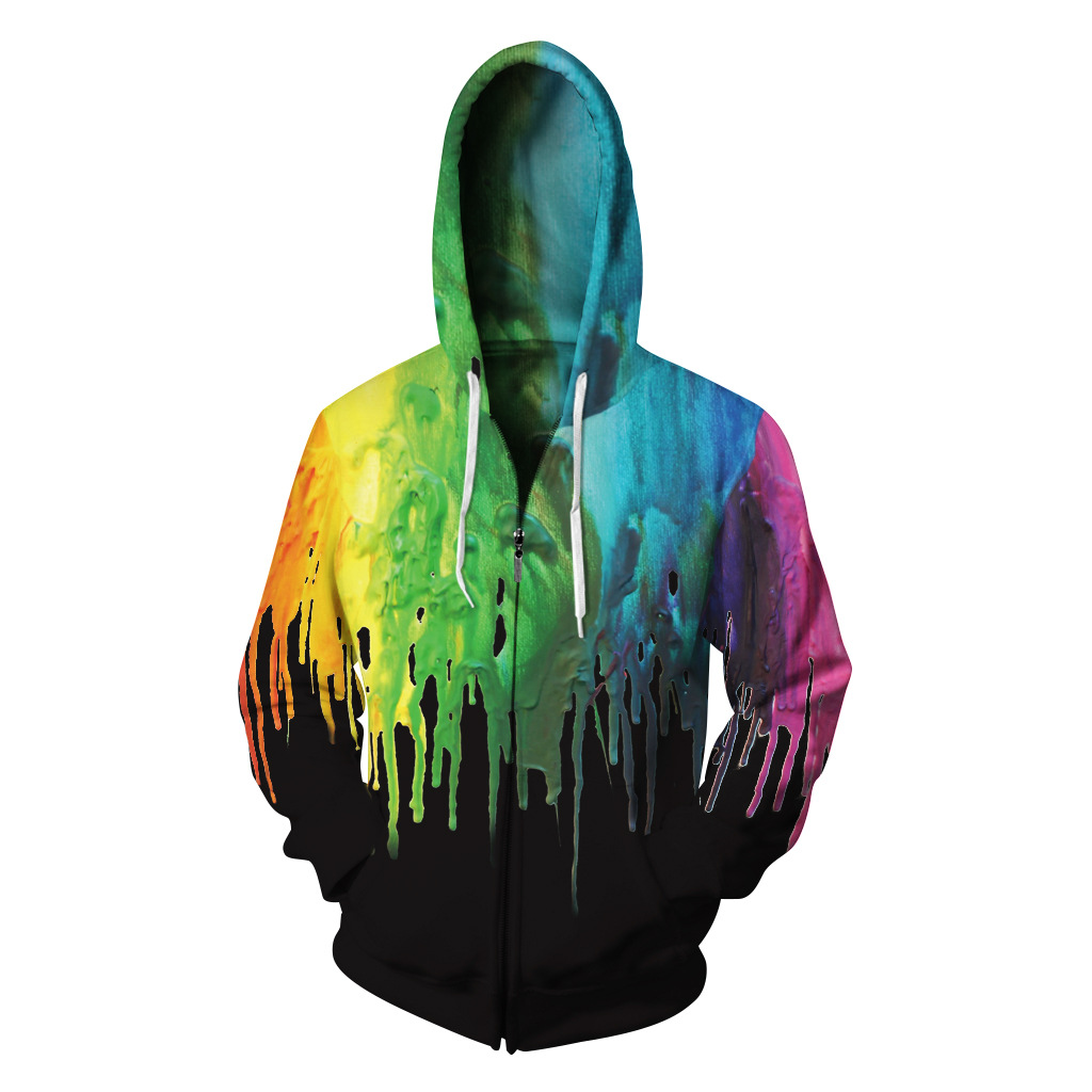 2018 New Unisex 3D Colorful Paint Zipper Hoodies Men/Women Autumn Winter Black Hooded Jacket Hip Hop Sweatshirts With Pockets