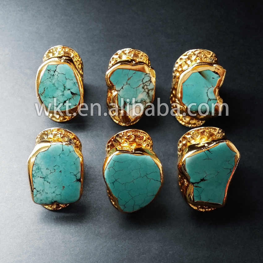WKT wholesale new stunning cigar band stone rings in gold color