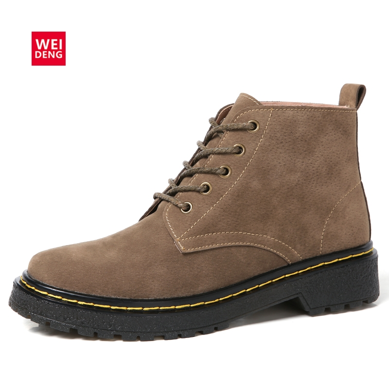 WeiDeng Retro Cow Suede Winter Women Shoes Leather Women Classic Martin Boots Warm Snow Boots Slip On Rubber Casual Nubuck Flats muhuisen handmade genuine leather mens shoes casual luxury brand men loafers fashion breathable driving shoes slip on moccasins