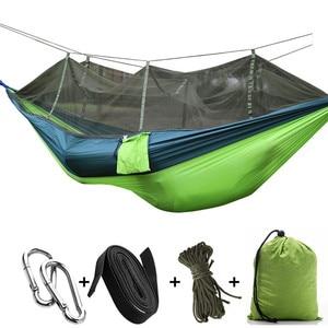 Image 4 - Portatile di Campeggio Esterna Amaca con Zanzariera Letti Amache In Tessuto Paracadute Appeso Altalena Sleeping Bed Tree Tenda
