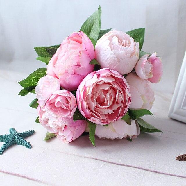 Yo Cho Artificial Flowers Peony Bouquet Pink Rose Red Silk Bridal White Wedding