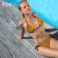 Amarillo Abeja 3D Diseño Striangle Bikini mujeres 3D Panal Sujetador XL Sexo Adulto Nadar Trikini Beachwear Sets Tie Side Bottoms Rojo Niñas