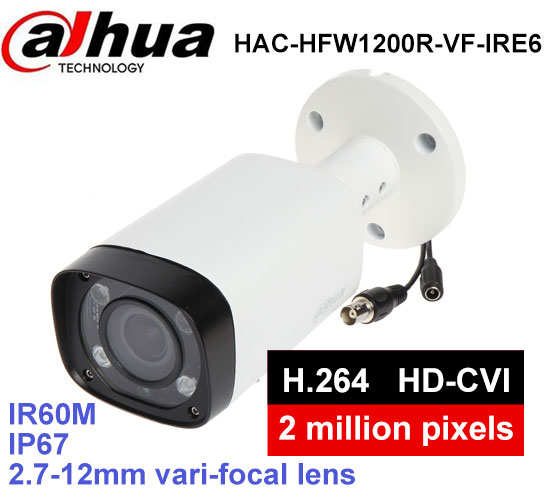 DAHUA security camera HAC-HFW1200R-VF-IRE6 1/2.7 cmos 2Megapixel 2.7~12mm vari-focal lens IR 60M IP67 outdoor HDCVI camera dahua camaras de seguridad dahua hdcvi dome camera 1 2 7 2megapixel cmos 1080p ir 40m ip66 dh hac hdw1200e a security camera