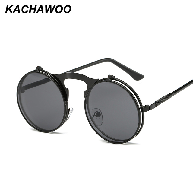 32d3867df70 Kachawoo wholesale 6pcs retro steampunk round sunglasses for men black gold  metal frame flip up sun glasses women accessories