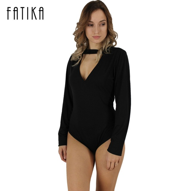 FATIKA 2017 Sexy Overalls Enteritos Mujer Club Playsuit Romper Women Bodysuit V Neckline Long-Sleeved Knitting Jumpsuit