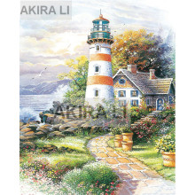 Diamond painting 5D DIY full square diamond exquisite seaside lighthouse cross stitch home decoration gift mosaic