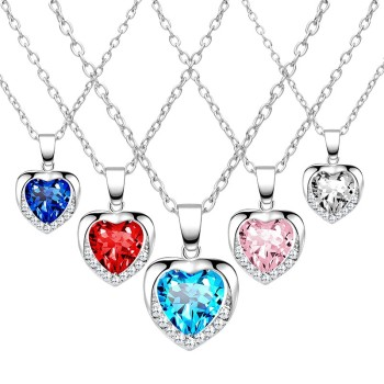 5 Colors Crystal Heart Pendant Necklace Fashion Hot Ladies Heart Link Chain Cute Zinc Alloy Women Gift choker collares