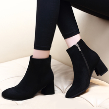 DropShipping Winter Autumn Casual Women 6CM High Heels Pumps Warm Ankle Boots Woman Kid Suede Leather Shoes CH-B0124