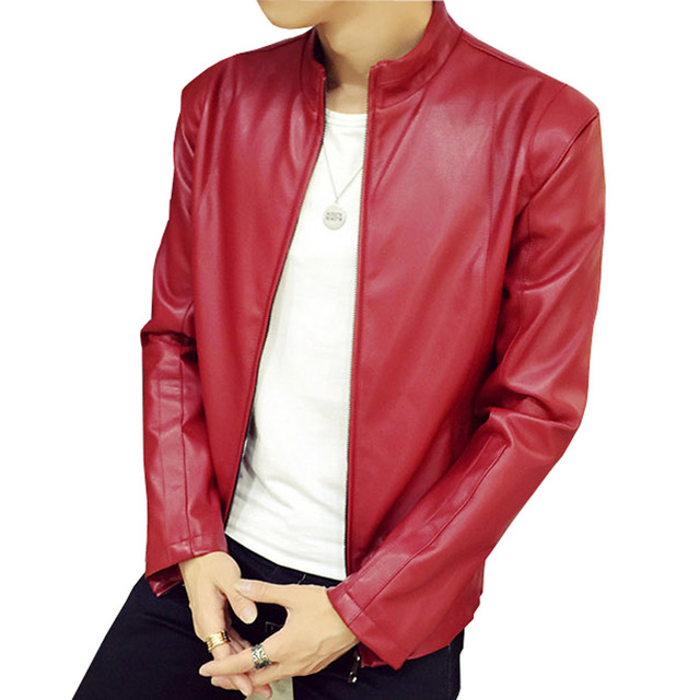 2016 New Style Men's Popular Handsome PU Leather Jacket Men Cool Motorcycle Jacket Coat Black Brown Red Blue Plus Size M-5XL