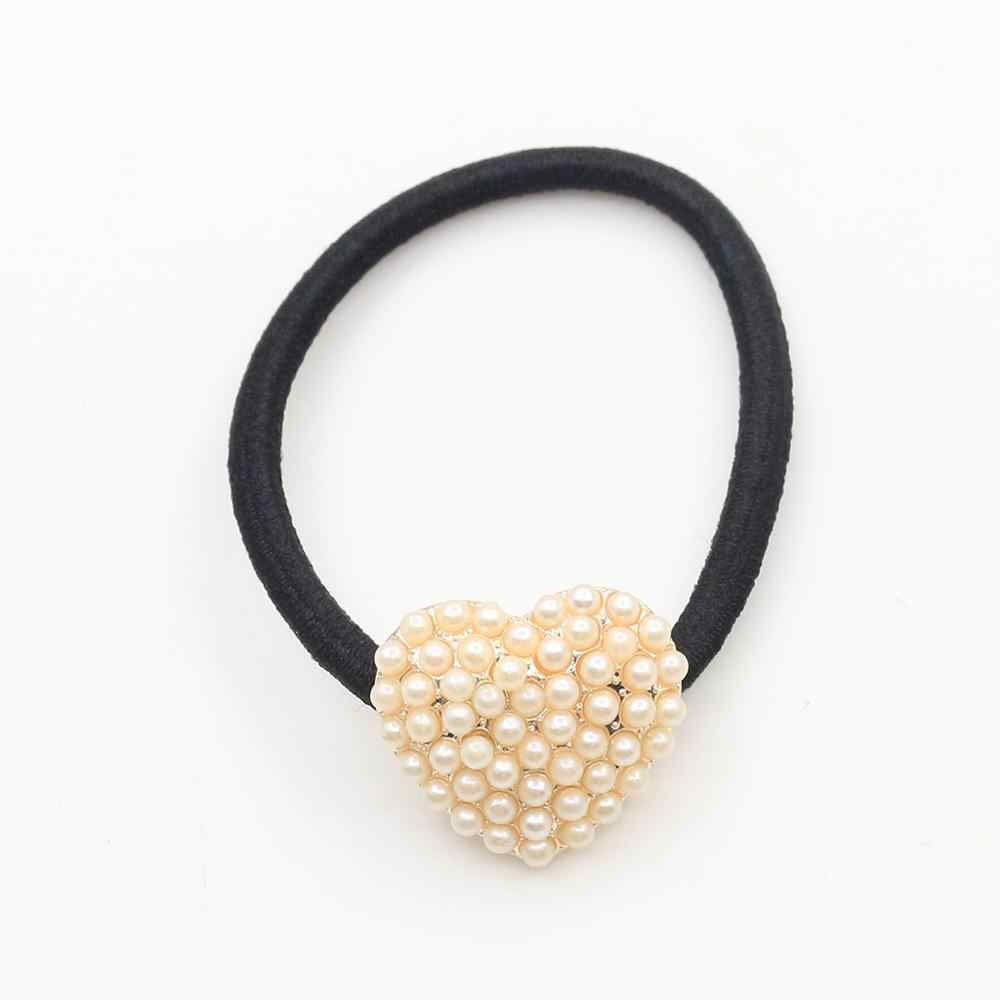 Korean jewelry wholesale pearl square mahogany hair rope bow hair ring Tousheng headdress flower
