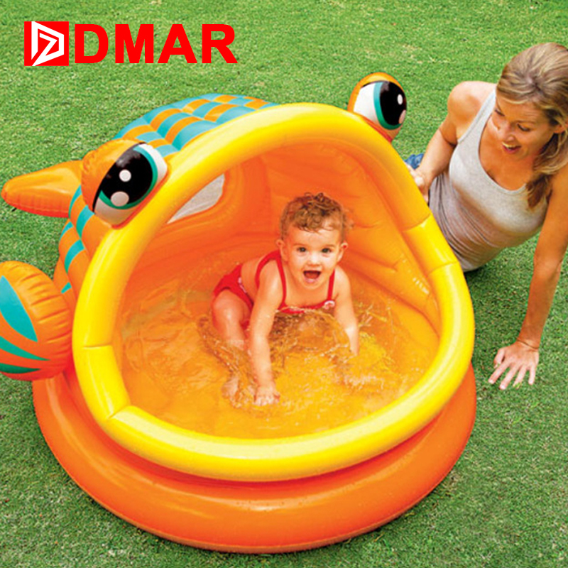 DMAR Inflatable Pool for Kids Big-mouth Fish Infants Baby Swimming Pool Bathing Pool Children Water Toys Durable High Quality chauvet dj ez rail rgba black