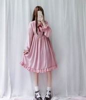 Harajuku Street Fashion Cosplay Female Dress Lantern Sleeve Japanese Soft Sister Gothic Style Dress Lolita Cute Girl Dress