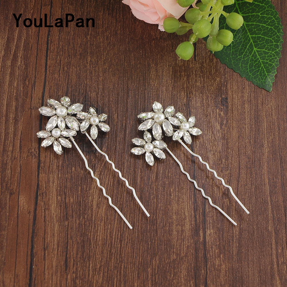 YouLaPan Bridal Tiara Wedding Clips Rhinestone Bridal Wedding Hair Accessories Wedding Hair Jewelry Bridal Hair Pins  HP79