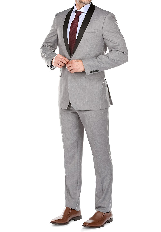 Slim Fit Grey Men Suit Wedding Suits For Men Custom Blazer Mens Suits Groom Tuxedo 2 Piece Terno Masculino  (Jacket+Pants)