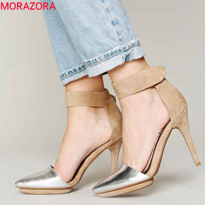 MORAZORA 2019 new arrival women sandals pointed toe summer shoes mixed colors sexy stiletto heels party