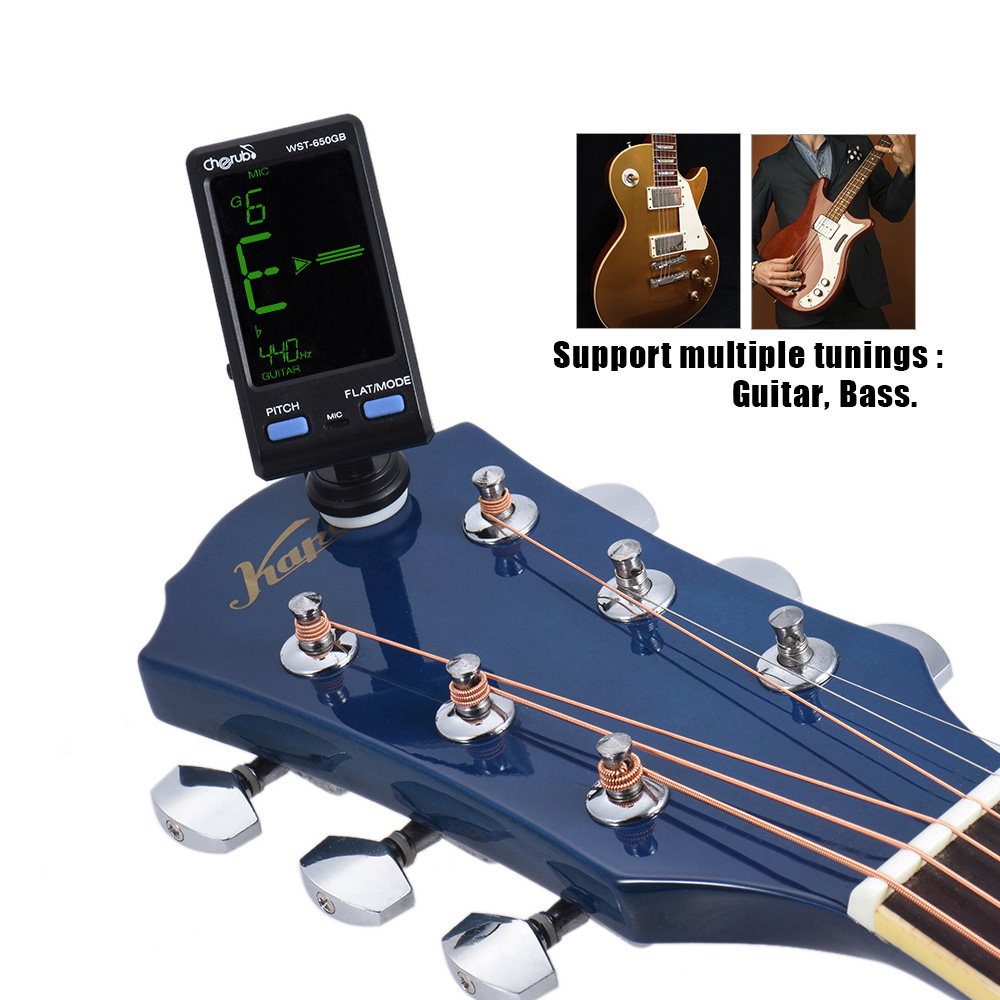 Cherub WST-650GB G Guitar Bass Clip-on/Mic Pickup Mode Support Pitch / Flat Adjustment stringed instrument parts