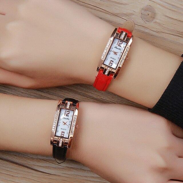 New 2018 Small Dial Women casual wristwatch Ladies Leather rhinestone Quartz Wat