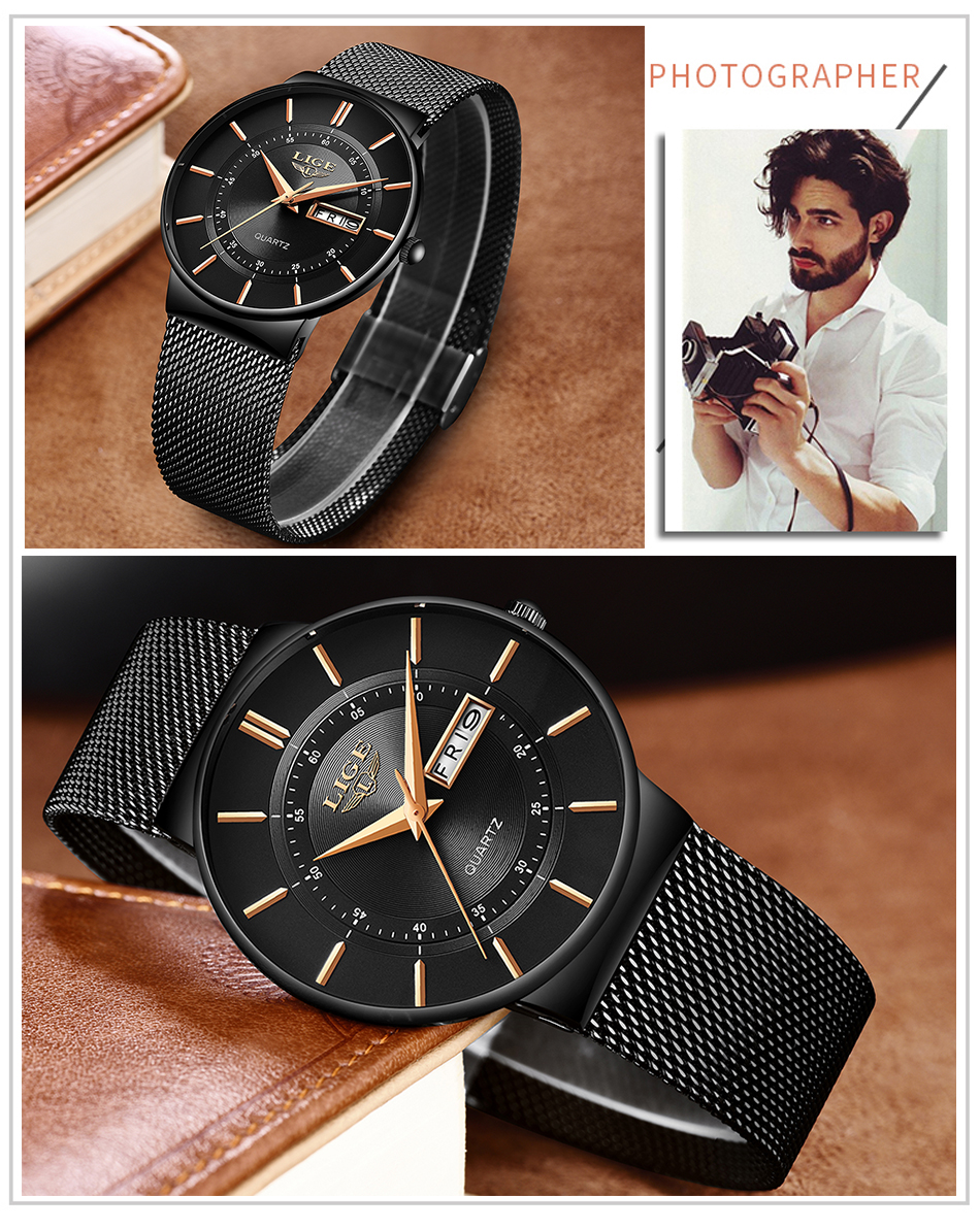 HTB11blJd3aH3KVjSZFjq6AFWpXaX Relogio Masculino 2019 LIGE New Mens Watches Top Brand Luxury Ultra Thin Quartz Watch Men Steel Mesh Strap Waterproof Gold Watch