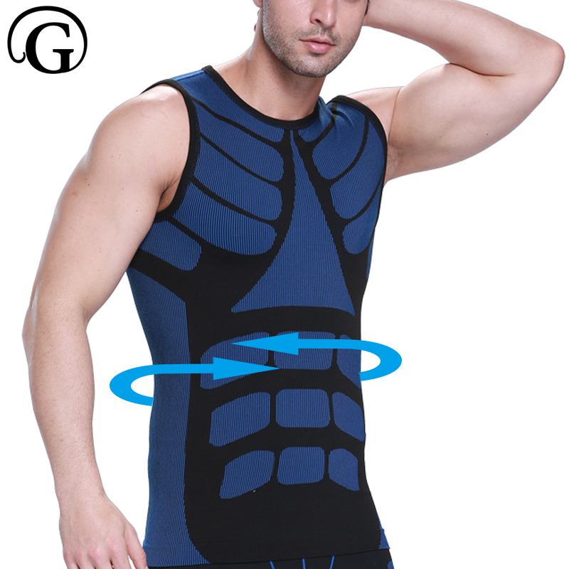 PRAYGER Male Compression underwear   Tank     Top   Men waist trainer body shaper Sleeveless Undershirts Breathable slimming Vest