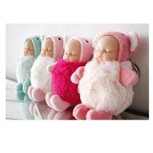Cute Cartoon Baby Sleeping Doll Keychain  PVC Dolls Car Keyring Women Key Holder Gift Child Toy