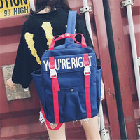 High Quality 2017 New CONTRAST COLOR You Are Right Letters Printing Lovers Backpack Canvas Laptop Backpack