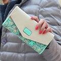 Marca de moda de Luxo Mulheres de Couro Longo Carteira Zíper Nova Flor Popular Cartão de Dinheiro Bolsa Feminina Ocasional Saco de Embreagem Meninas Senhoras