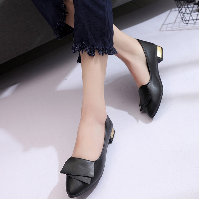 Casual Flats Women Shoes Loafers Pu Leather Elegant Low Heels Slip On Ballet Footwear Female Pointed Toe Thick Heel Ladies Shoes