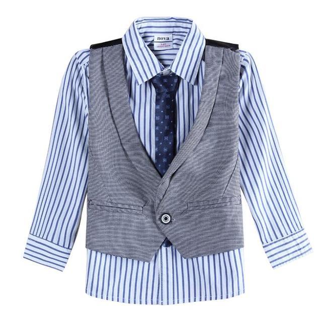 391a4c36b Camisas de manga larga y chaqueta sin mangas ropa para niños conjuntos niños  ropa nova niños