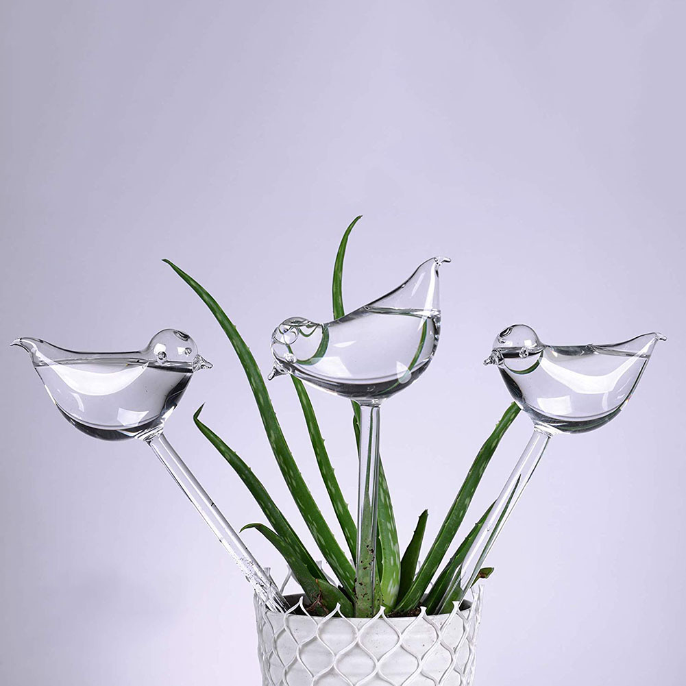 3 Pack Plant Self Watering Globe Plants Water Bulbs Bird Shape Clear Glass Watering Device