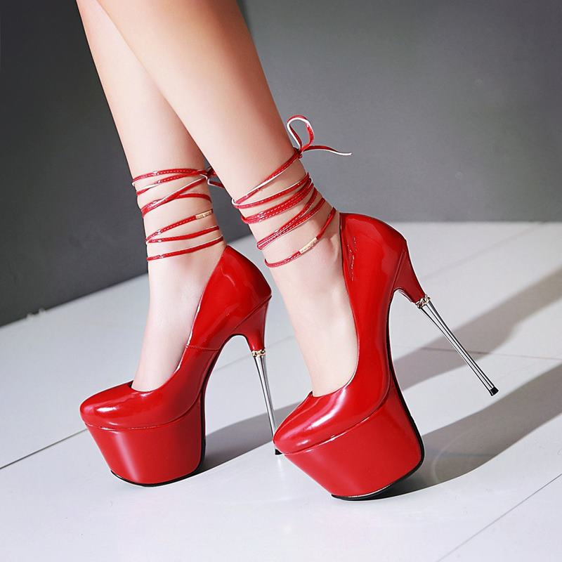 ФОТО Plus size 32-43 new fashion women pumps high quality round toe thick platform ultra high heels red bottom party wedding shoes