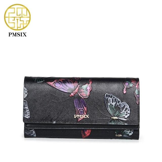 Pmsix Топ Слои натуральная кожа Для женщин клатч бумажник бабочка Тиснение ретро дамы сцепления мешок денег P410007
