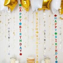 Decoração para comemoração aniversários infantis, decoração de balões de pendurar, multicolor e feliz aniversário para crianças, decoração casamento, festa de aniversário