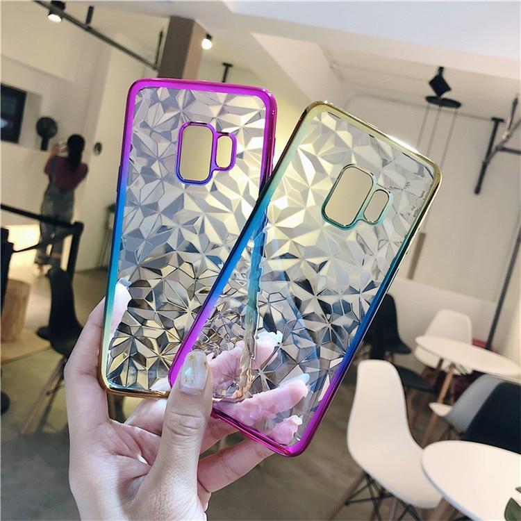 3D Diamond Gradient Case For Samsung Galaxy S10 Lite S9 S8 Plus Note9 J4 J6 A6 A8 Plus 2018 J3 J5 J7 2017 Colorful Plating Case