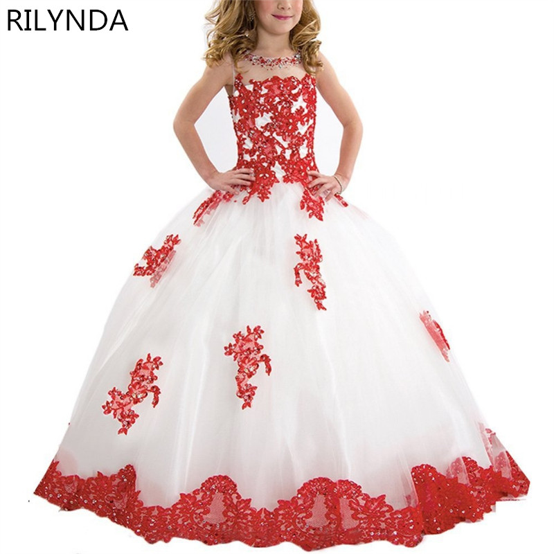 New Arrival Little Girl Ball Gown Scoop Appliqued Glitz Pageant 2017 Flower Girls Dresses Long For Children Prom Gown 4pcs new for ball uff bes m18mg noc80b s04g