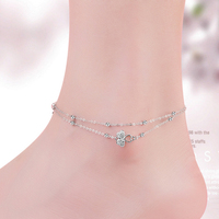Trendy Ankle Bracelet 925 Silver Women Anklets Silver Round Lucky Clover Leaf Fine Jewelry 925 Real Sterling Silver Anklet