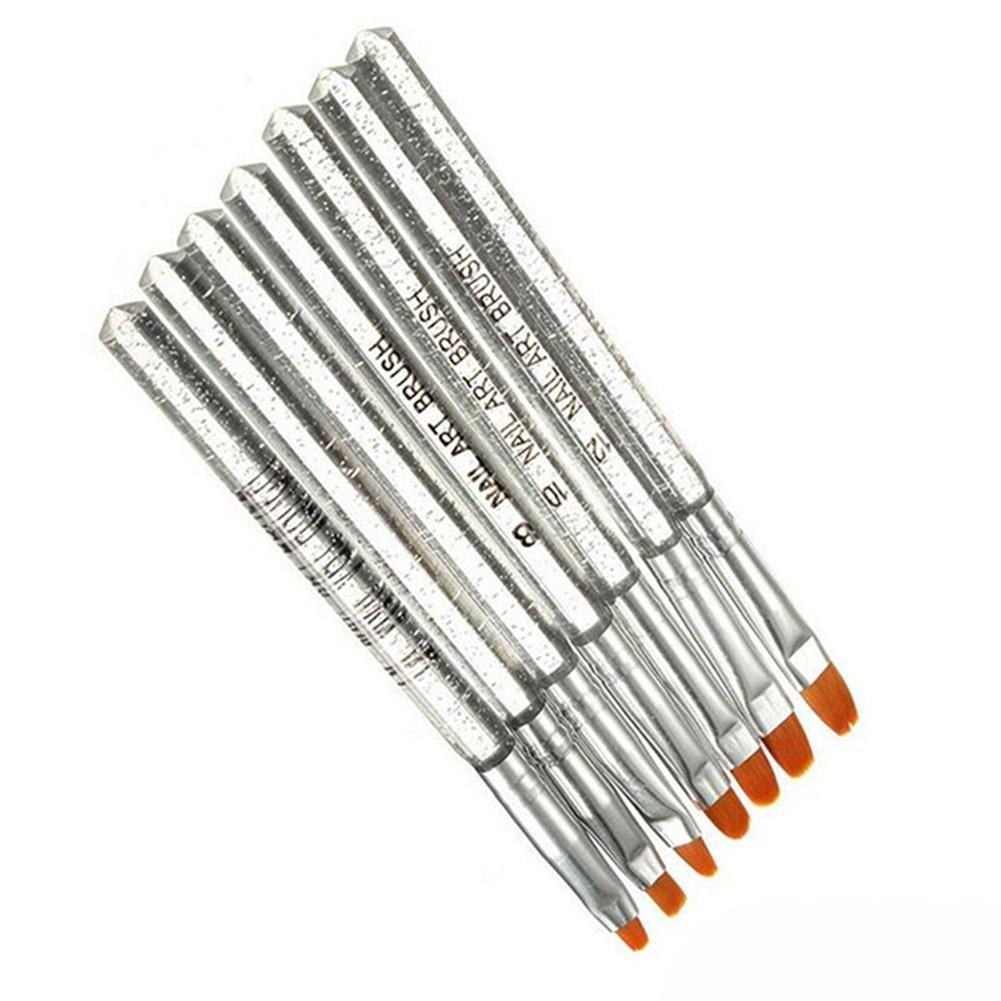 7 шт. Новый Серебряный прозрачный стержень ручка для ногтей УФ-гель, акриловый кристалл дизайн щетка генератора ручка Набор инструментов