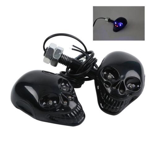 Blue Red Skull LED Turn Light Signal For Universal Motorbike Street Bike Chopper