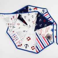 1pc 12 Flags 3 2m Pirate Theme Cotton Fabric Bunting Pennant Sailor Triangle Flag Banners Garland
